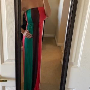Green, brown, coral and white tube top maxi dress